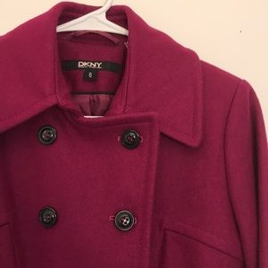 DKNY Plum Peacoat Winter Classic Coat
